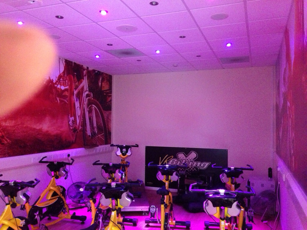 RGB LED downlighters for Cycle Aerobics Suite in Saltash